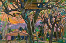 Treehouse in Farmington at Dusk
